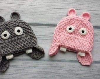 newborn photo prop,  hippo newborn/ baby hat, newborn girl, hippo hat, newborn boy, newborn knit hat, newborn girl props, pink grey baby hat