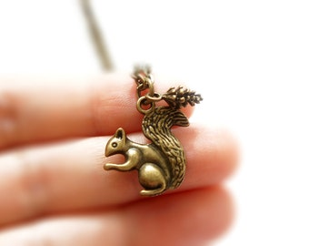 The Acorn Keeper Necklace - Vintage Style Antiqued Brass Tiny Squirrel with Acorn Necklace - C0011/0012