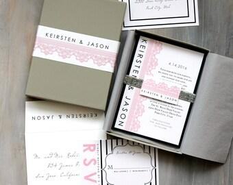"Silver Glitter Wedding Invitations with Pink Lace, Black Stripes, White Metallic Paper - ""Modern Lace Box Invite"" Sample - NEW LOWER PRICE!"