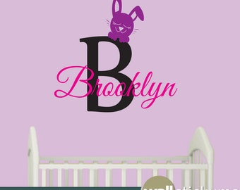 Monogram Name Wall Decal With Bunny  Vinyl Wall Art Decal  - WD0289