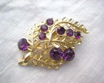 Now on Sale, 1950s Purple Rhinestone Leaf Pin