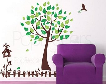 "Nursery Tree Wall Decals Baby Room Sticker Spring Tree Decors - Spring Messenger(71""H) -Bird House Nature Design Tree Art  pt0140"
