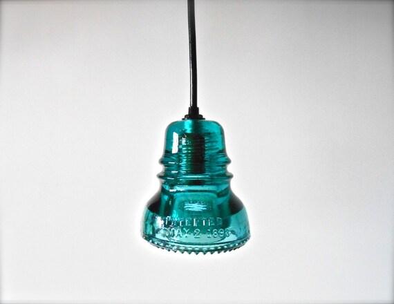 Custom Antique Aqua Glass Insulator Lights By