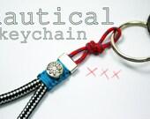 nautical keychain,bag charm, sail rope,nautical keyring,beach,maritime key chain,gift for sailors,yachting accessory