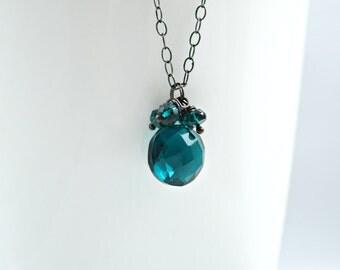 Teal Quartz Necklace - Deep Teal Quartz and Dark Oxidized Sterling Silver Necklace, Blue Green Quartz Necklace, Oxidized Silver Necklace