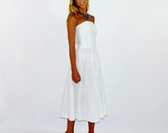 Vintage 80s White Strapless Summer Wedding Bridal Sun Cotton Dress, Size XXS 0