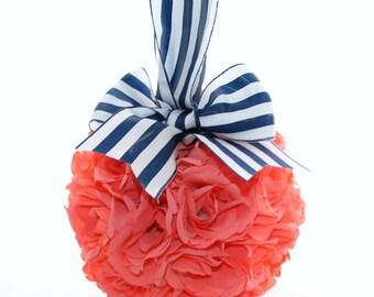 Nautical Bright Coral Rose Pomander