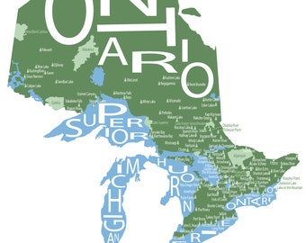 Typographic Map of Provincial Parks in Ontario