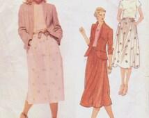 70s Calvin Klein VogueSewing Pattern 1884 Womens Above Hip Length Jacket, Top & Skirt Size 14 Bust 36 Vintage Vogue American Designer