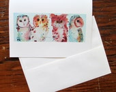 Watercolor Owls Card Set, Blank Bird Cards, Whimsical Owl Blank Notecards