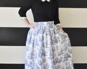 Blue Toile Midi Skirt, Mini Skirt or Maxi Ball skirt  full, gathered skirt all sizes custom made to order