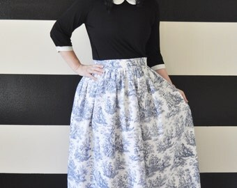 Blue Toile Midi Skirt, Mini Skirt or Maxi Ball skirt  full, gathered skirt all sizes custom made to order