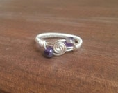 Amethyst Spiral Wire Wrapped Ring
