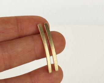Gold minimalist earrings, solid gold jewelry, 14k gold bar earrings, gold line earrings, long stud earrings