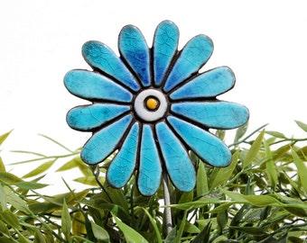 Flower garden art - plant stake - garden decor - flower ornament  - ceramic flower - daisy - turquoise