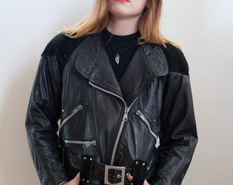 VTG 80s Leather and Suede Moto Jacket M