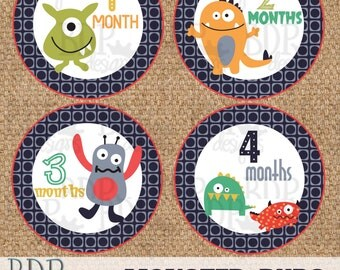 "CoCalo Monster Buds Onesize Month Stickers - 4"" diameter - INSTANT DOWNLOAD"