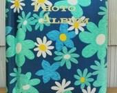 Aqua Blue Mod Floral Fabric Covered Photo Album