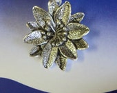 Antique silver-plated Poinsettia Pewter Poinsettia Flower Focal Pendant