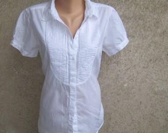 White Short Sleeve Cotton Blouse 2