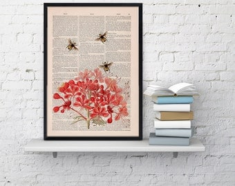 Bees with Geranium flowers - Upcycled Dictionary Page Book, Wall art print, Floral art, Bees Wall decor, Wall hanging bee print art BPBB01
