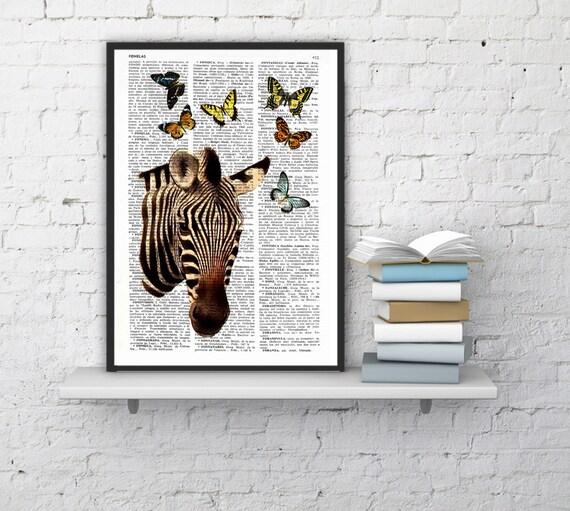 Zebra with butterflies Art Print, DICTIONARY Art Print, Zebra and butterflies Wall Decor, Zebra POSTER Dorm Decor Art - Fun print BPAN04