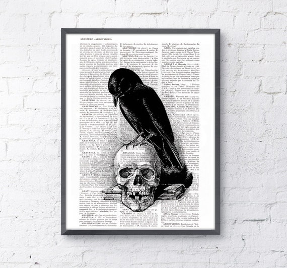 Christmas Sale Book Print Vintage Art Print Crow on the skull SKA070
