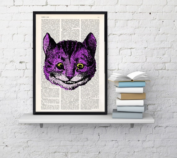 Alice in wonderland- Cheshire cat head book print- Alice in Wonderland Collage Print on Vintage Dictionary Book art ALW040