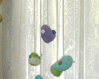 Nursery Decor  - Crochet Bird Mobil - Baby Shower Gift - Child's Room Decor - Blue Purple Green Bird Decor
