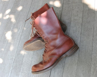 "vintage 40's - 50's Military style leather boots. RCMP issue. Pebble grain - Russet. Mid calf 12"". Size 10 Wide"