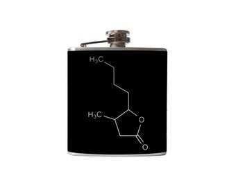 Whiskey Chemical Compound flask- lactone, molecule, alcohol, hip- Personalized, Custom - YOU pick COLOR