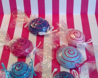 6 Wrapped Fake Candy Flat on Back Easy to Attach to Your Candy Land theme Costumes for Halloween Concerts Contest