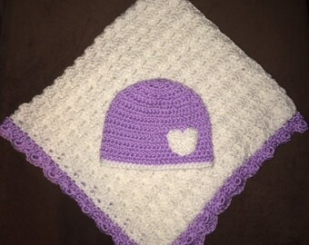 Purple and White Baby Blanket (Crib Size) & Hat Set with Heart
