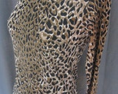 RESERVED for Angelique Vintage 1960s white leopard Mini Dress, black, white and brown 60s snow leopard mock dress size Medium