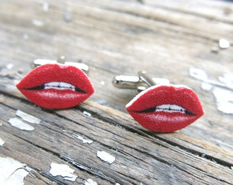 Gift for Dad Father Cufflinks For Him Kiss Red Lips Cuff Links Gift for Men or Women