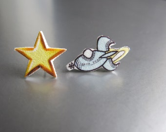 Mismatched Galaxy Space Star and Rocket Ship Geekery Stud Post Fun Earrings Stocking Stuffer Jewelry Gift For Best Friend Kitsch Kitschy