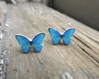 Post Earrings Blue Teal Butterfly Stud Insect Jewelry Gift For Her Jewellery Present Christmas Stocking Stuffer for Teen Tween Pretty Dainty