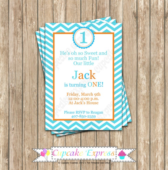DIY Orange Blue Teal Birthday Party  PRINTABLE Invitation 5x7  First 1st Birthday -Cupcake express