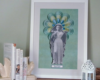 Marie Curie poster, Curie's head on Hypatia's body, Scientist poster, science art, geek art,  science illustration