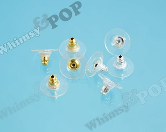 Silver or Gold Finished Earnut Ear Backing Earring Post (25 to 100 pairs), Earring Backs, 12mm x 7mm (R4-142,C1-02)