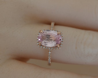 ON HOLD Till 15-Feb certified  3.03CT Padparadscha, Rose gold, diamonds halo JOAN-908p