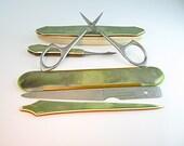 Manicure Set. Travel Kit. Art Deco Green Pearl Celluloid. La Cross Nail Tools. Vintage 1920s Portable Beauty Kit.