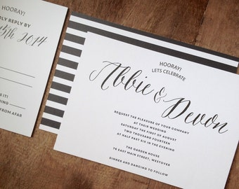 Printable Classic Black And White Wedding Invitation Suite   Wedding Invitation Set, Wedding Invites, Black and White Stripes