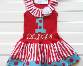 Personalize Circus Dress Red/ Aqua Dress Number Dress Birthday Dress Circus Party Girls Dress Kids Available 0-3 months through Size 6/8
