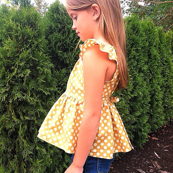Yellow Tops For Girls Girls Peplum Top Mustard