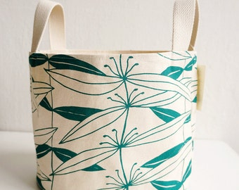 Fabric Basket, Green, Organizer,  Christmas Gift Basket, Organic Cotton, Fabric Container, Hand-printed,