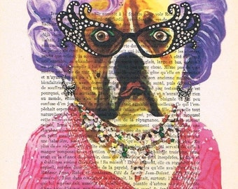 Dame Edna Bulldog: Print Art Poster Illustration Acrylic Painting Animal Portrait Decor Wall Hanging Wall Art Drawing Glicee Bulldog coco