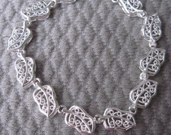 Sophisticated and Textured Sterling Silver Leaf Bracelet