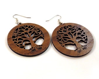 Tree of Life Sustainable Wooden Earrings - in Walnut - Wood Dangle Hook Earrings