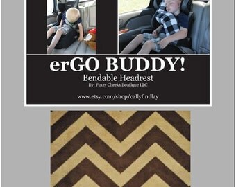 erGO BUDDY Bendable baby / toddler headrest carseat pillow and cover in Brown Chevron